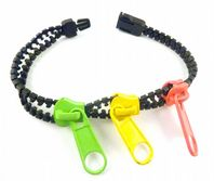 Retro Vibrant Triple Zip Punk Pop Style Bracelet.